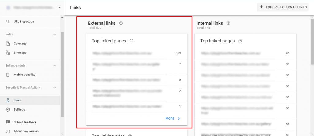 External Links Dashboard on GSC