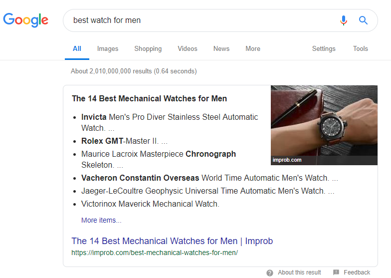 Featured Snippet Sample