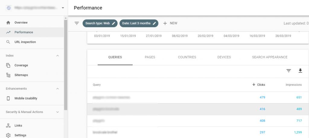 Keyword Tracking Menu on GSC