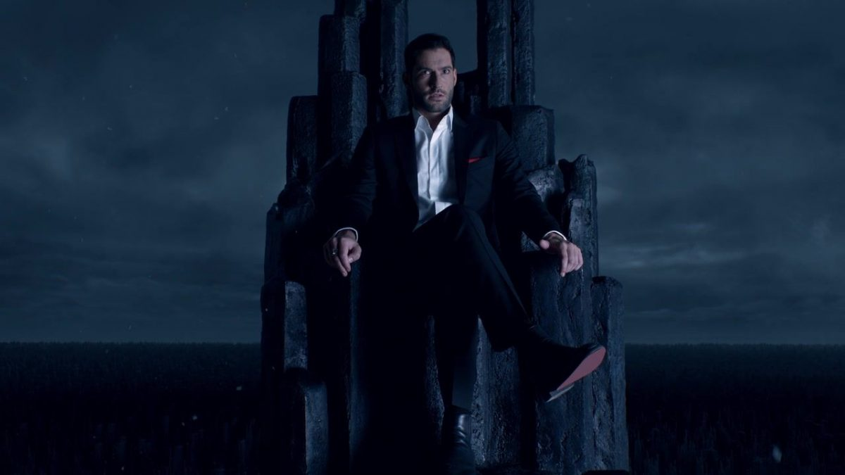 Netlix's Lucifer as king sits on throne