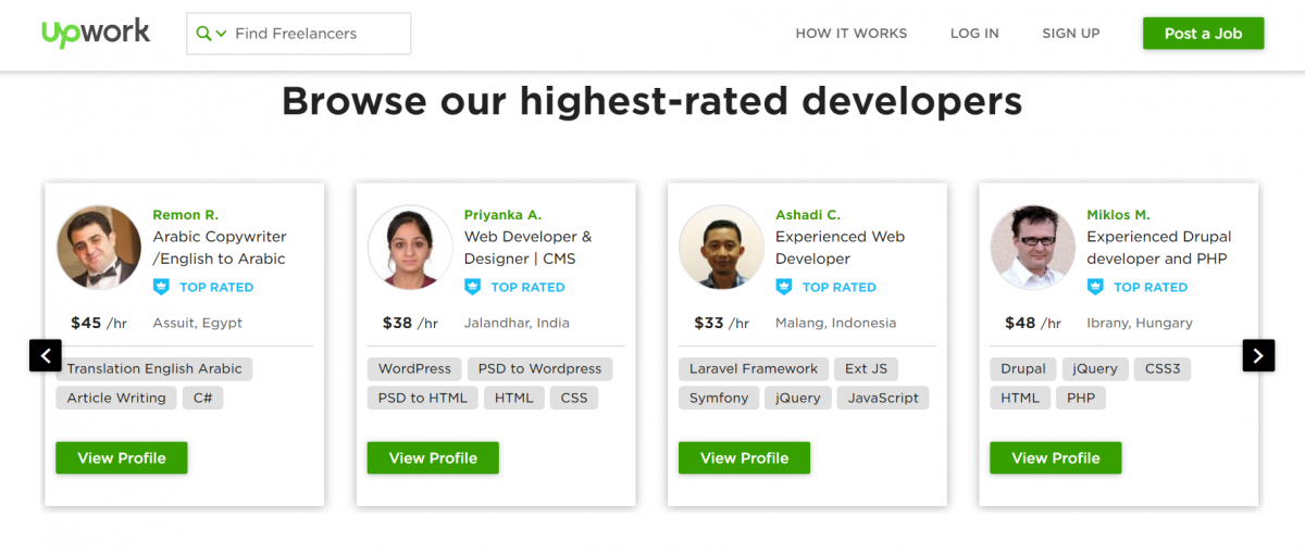 Upwork's highest rated developers