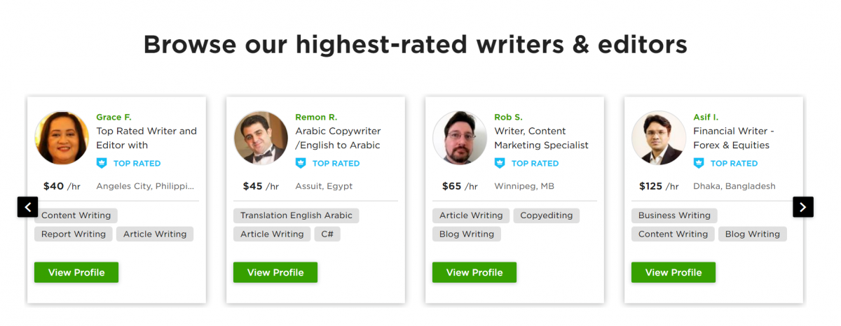 Upwork's highest rated writers & editors