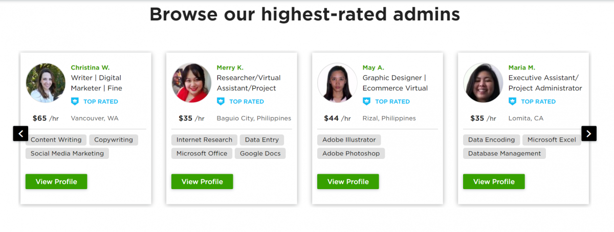 Upwork's highest rated admin staff and customer support