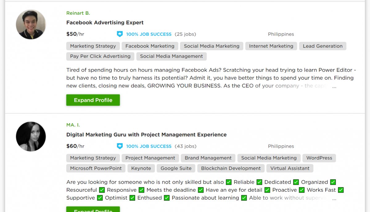 7 List of Upwork's freelance Social Media advertisers