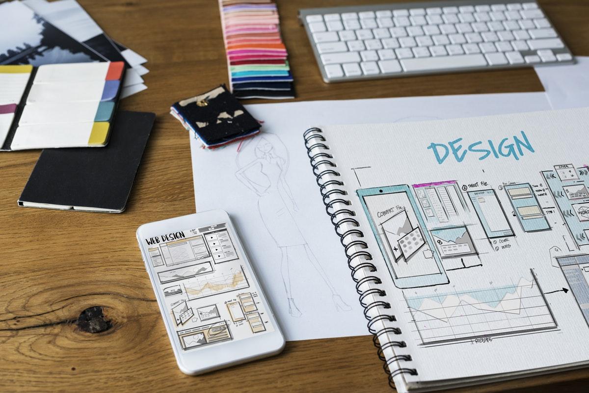 Design portfolio on table