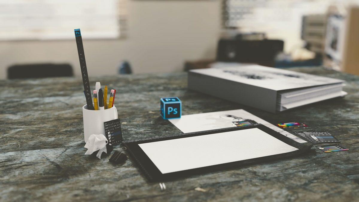 Graphic design photoshop on desk