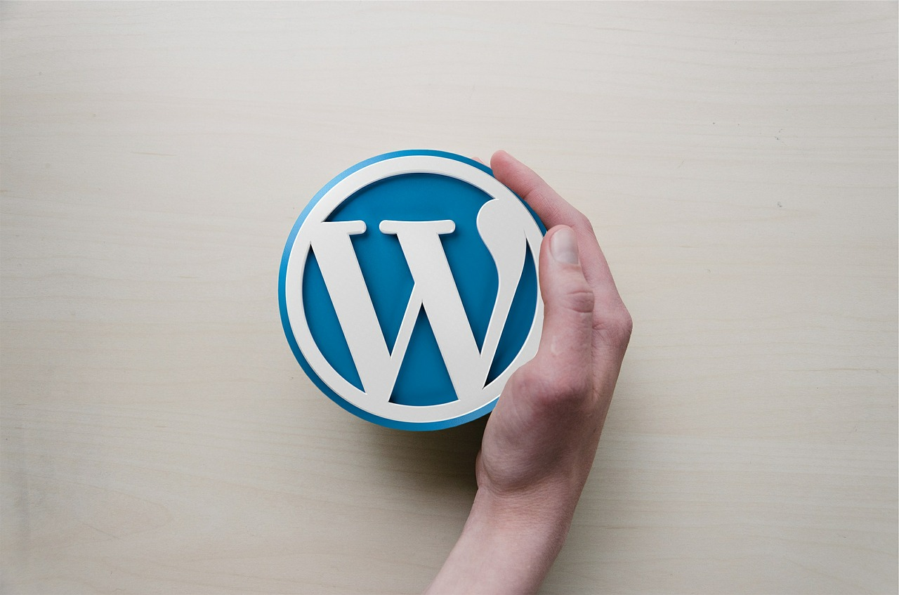 WordPress logo in hand